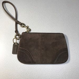 Coach Brown Suede Wristlet-EUC